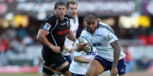 George Moala of the Blues in action during the Super Rugby match between The Sharks and Blues from Growthpoint Kings Park in Durban Photo AP
