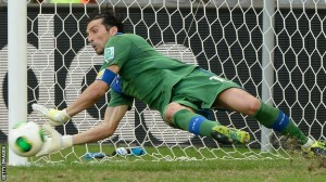Gianluigi Buffon saved three penalties as Italy beat Uruguay to claim third place in the Confederations Cup