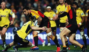 Liam Messam goes on the charge for the Chiefs against the Hurricanes