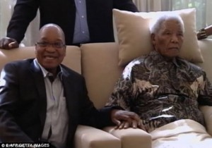 South African President and ANC leader Jacob Zuma pictured with Mr Mandela in April