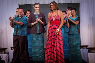 Front: Philipa Steele, Fiji's first international model beside designer Alexandra Poenaru-Philp