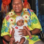 Commodore Voreqe Bainimarama in solomons with baby